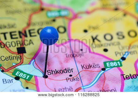 Shkodra pinned on a map of Albania