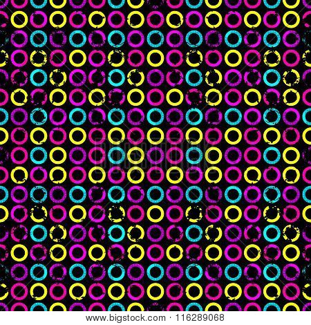 Psychedelic Circles On A Black Background Grunge Effect Seamless Geometric Background