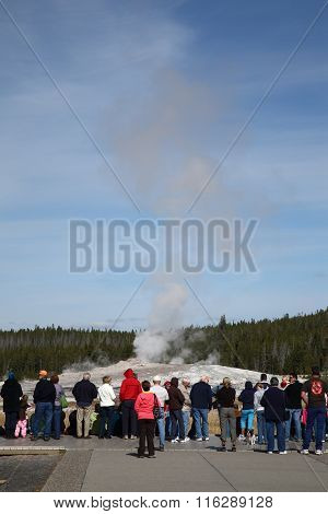 Yellowstone Park Tourists At Old Faithful