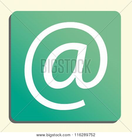 Email White Icon On Green Button Style Background