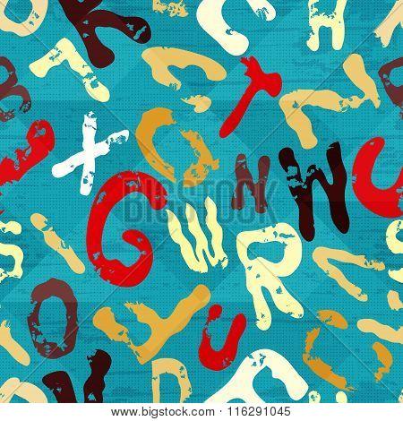 Beautiful Letters Graffiti On A Blue Background Geometric Grunge Texture