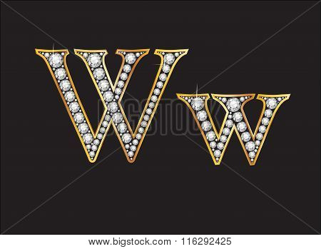 Ww Diamond Jeweled Font With Gold Channels
