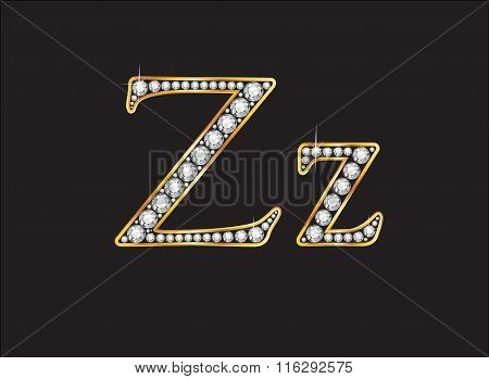 Zz Diamond Jeweled Font With Gold Channels