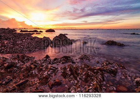 Seascape During Sunset.