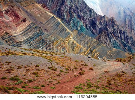 Color mountains in Aconcagua national park. Andes, Argentina