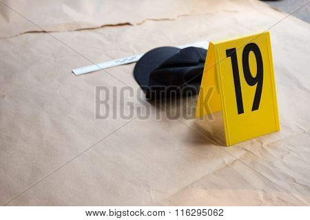Evidence Number tag In Crime Scene