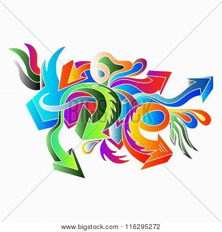 Graffiti Colored Arrows On A White Background Vector Illustration