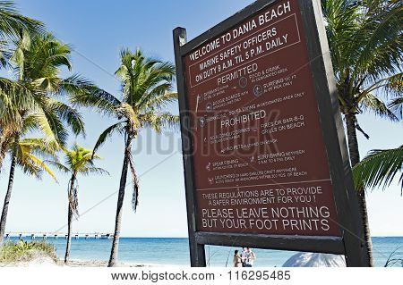 Large Welcome To Dania Beach Sign