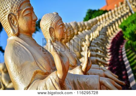 Buddha statues standing in a row.