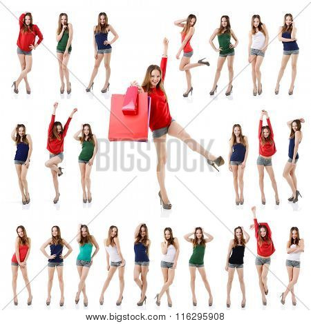 Large set of attractive young posing girl isolated on white background. Collection of full length portrait of beautiful young woman.