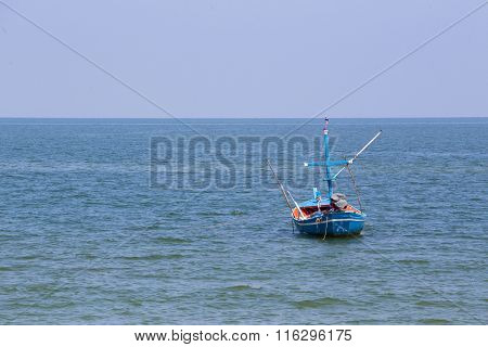 Single Fishery Boat  On Sea