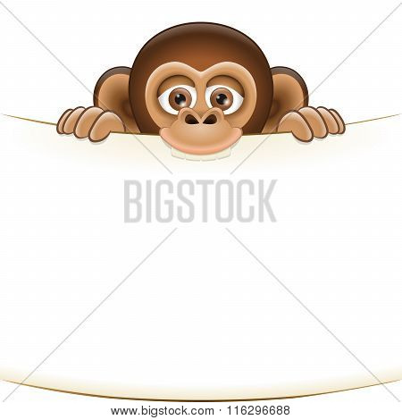 Cartoon Monkey Holding A Blank Sheet Of Paper