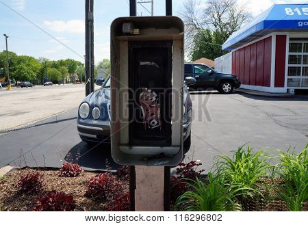 Empty Pay-Phone Box