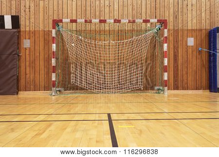 Soccer goal in an old gymhall