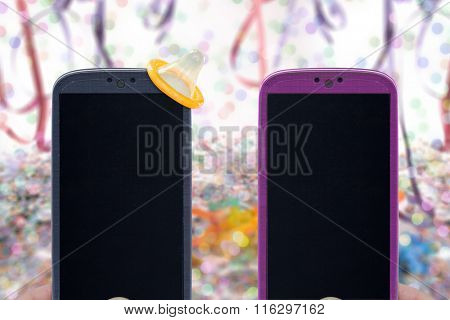 Carnival smartphones and sex protection - Male and female smartphones on Carnival background