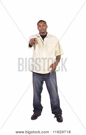 Black Businessman Pointing Towards The Camera