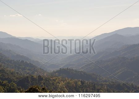 Range Of Rain Forest Mountain  In Thailand  Background