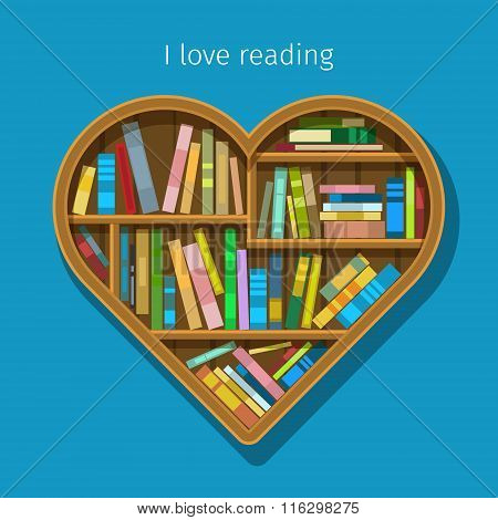 Book shelf in form of heart.