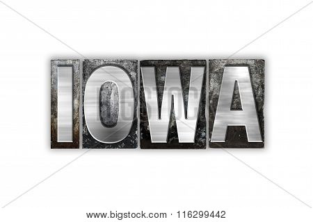 Iowa Concept Isolated Metal Letterpress Type