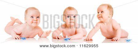 Trío hermanos de los bebés