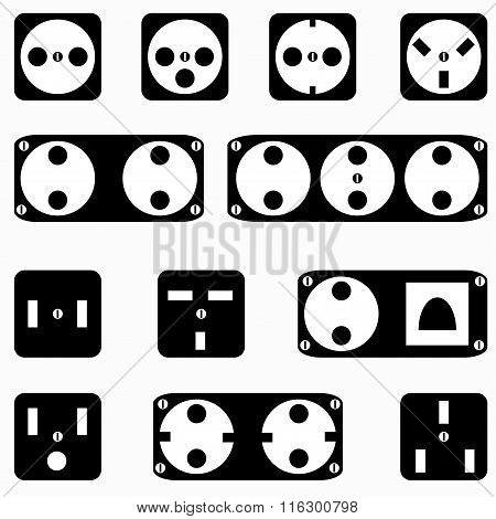 Monochrome Sockets Symbols On A White Background Vector Illustration