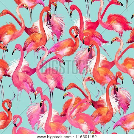 Watercolor Flamingo bird. flamingo and tropical nature watercolor pattern Flamingo Bird Background.