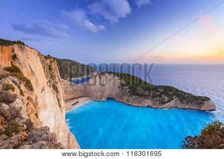 Shipwreck beach at sunset on Zakynthos Island, Greece