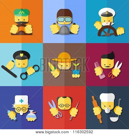Flat Icon Set Of Profession