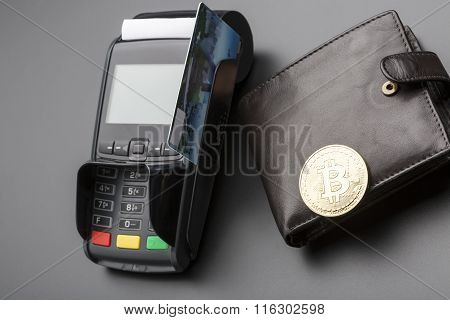 Bitcoin,credit card POS-terminal.business concept