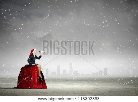 Santa woman making announcement