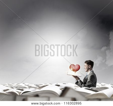 Man with opened book