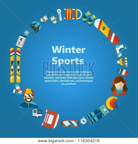 Winter Activity Flat Icons Circle Shape Text Template