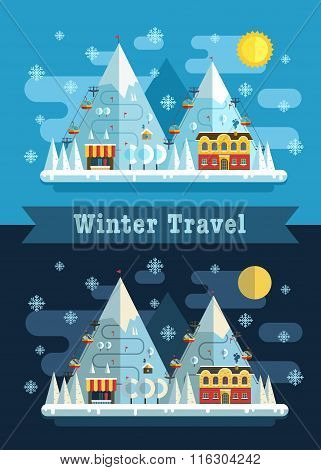 Winter Travel Flat Vacation Landscape Poster