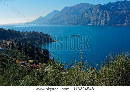 Garda lake in autumn, northern Italy