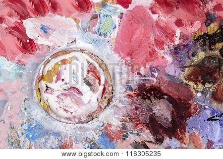 Artist Palette With A Cup For Mixing Oil Paints