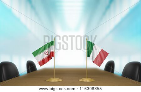 Iran and Italy relations and trade deal talks 3D rendering