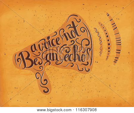 Motivational Business Drawn Lettering Typography Poster In Silhouette Of A Horn On A Bright Orange B