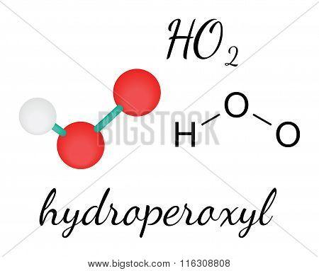 HO2 hydroperoxyl radical molecule
