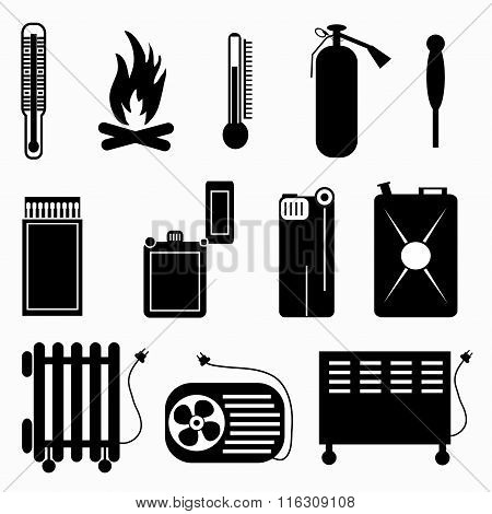 Monochrome Abstract Symbols Vector Illustration