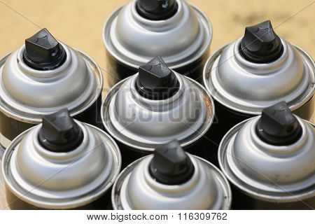 spray can in industry job, lubricator can for industry job, color in can and spraying or painting to