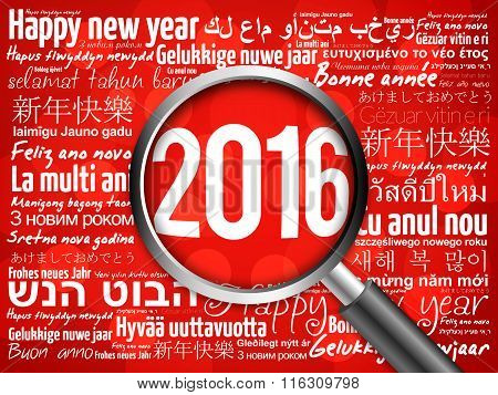 2016 Happy New Year in different languages red background, celebration greeting card with magnifying