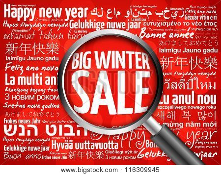 Big winter sale, Happy New Year in different languages red background, celebration greeting card wit