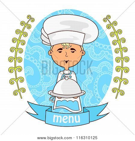 Cute Boy Chef Cook With Dish On The Tray.menu.