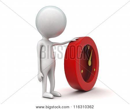 3D Man Presenting Time Piece Concept
