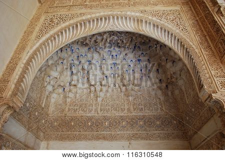 Alhambra Palace arch detail.