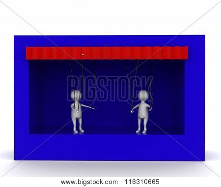 3D Men Puppet Show In  Stage Concept