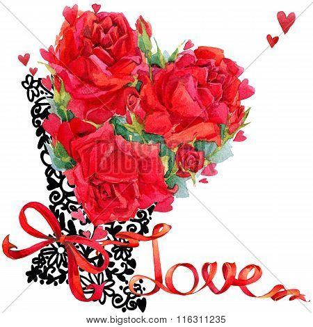 Valentines day card. Valentine day invitation design. Valentines day Rose flower hand drawing art. V