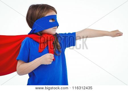 Masked girl pretending to be superhero on white screen