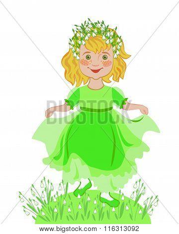 Little Girl Celebrates The Arrival Of Spring