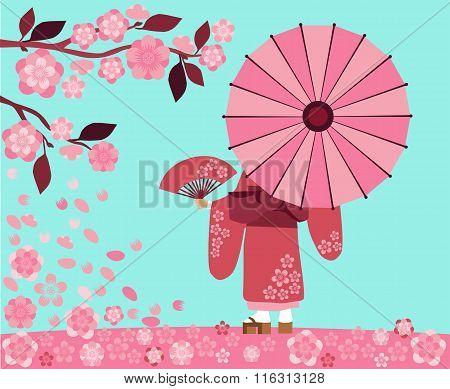 Girl In Kimono With Sakura Blossoms